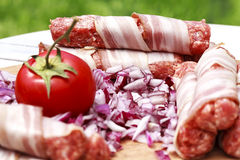 Preparation of minced meat and bacon for lunch Stock Image