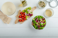 Preparation of mixed vegetable salad Royalty Free Stock Photography