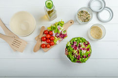 Preparation of mixed vegetable salad Stock Photos