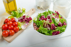 Preparation of mixed vegetable salad Royalty Free Stock Image