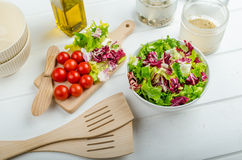 Preparation of mixed vegetable salad Stock Images