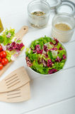 Preparation of mixed vegetable salad Royalty Free Stock Photos