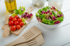 Preparation of mixed vegetable salad Stock Photography