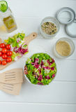 Preparation of mixed vegetable salad Royalty Free Stock Photo