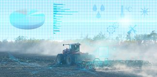 Preparation Of The Field By A Farmer Using A Tractor Equipped With Smart Sensors That Allow The Calculation Of Important Parameter Royalty Free Stock Photos