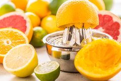 Preparation of orange grape or multivitamin juice, hands squeeze. Juice on a manual metal juicer surrounded by fresh tropical fruit Stock Image