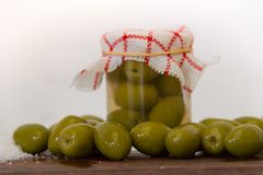 Preparation of organic pickled olives Royalty Free Stock Photos