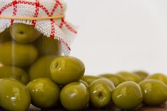 Preparation of organic pickled olives Royalty Free Stock Photography