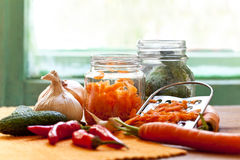 preparation of organic vegetables in jars Royalty Free Stock Images