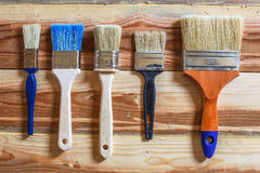 Preparation for painting works. New brushes of different types Royalty Free Stock Photography