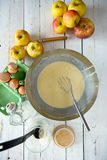 Preparation of pancake batter Royalty Free Stock Photo