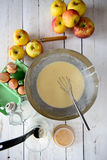 Preparation of pancake batter Royalty Free Stock Image