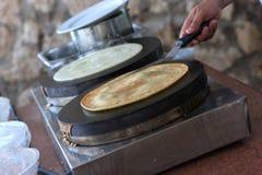 Preparation of pancakes Royalty Free Stock Photo
