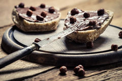 Preparation of peanut butter sandwiches with hazelnuts Stock Images