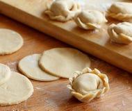 Preparation of pelmeni, ravioli, dumplings. With minced meat close up stock photos