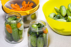 Preparation of Pickled Cucumbers and Carrots Stock Photo