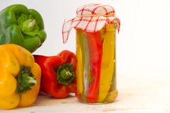 Preparation of pickles of organic peppers Royalty Free Stock Photo