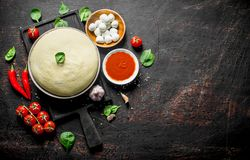Preparation pizza. Dough with different ingredients for pizza. On dark rustic background royalty free stock image