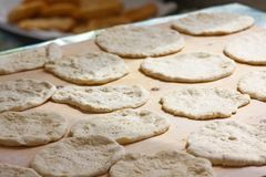Preparation pizza dough royalty free stock images