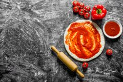 Preparation pizza. Rolled out dough with different pizza ingredients. On rustic background stock images