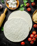 Preparation pizza. Round dough with tomatoes, cheese and spinach. On black rustic background stock photos