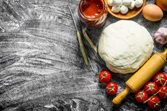Preparation pizza. Various ingredients for cooking pizza. On rustic background royalty free stock image