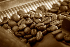 Preparation process of hot coffee. Royalty Free Stock Photo