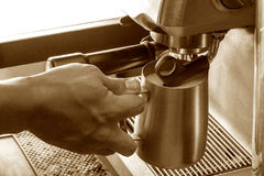 Preparation process of hot coffee. Royalty Free Stock Photos