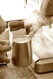 Preparation process of hot coffee. Stock Photos