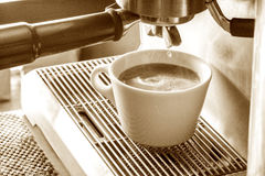 Preparation process of hot coffee. Stock Photography
