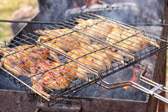 Preparation of quail on the grill Stock Images