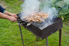 Preparation of the quails strung on a skewer, on a brazier Stock Photo