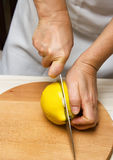 Preparation of quince. Royalty Free Stock Photography