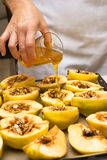 Preparation of quince. Stock Photo