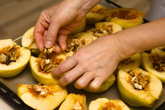 Preparation of quince. Stock Image