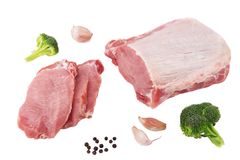 Preparation of raw meat for grilling spices. Royalty Free Stock Images