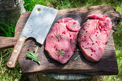 Preparation red meat with rosemary for grilling Stock Image