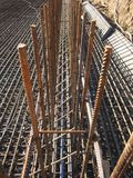 Preparation of reinforced frame for subsequent pouring of concrete. Preparation of reinforced frame for the next pouring of the concrete foundation of a building royalty free stock photo