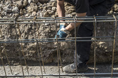 Preparation of reinforcement for foundations on the site Stock Photography