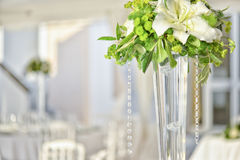 Preparation restaurant tables for wedding Stock Image