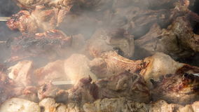 Preparation of roasted meat on the fire outdoors for a picnic and relax. Food. Preparation of roasted meat on the fire outdoors for a picnic and relax stock footage