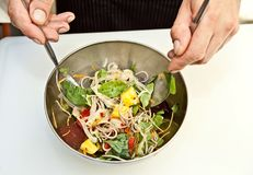 Preparation of salad Stock Photography