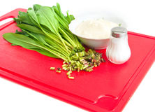 Preparation of salad from a ramson with sour cream Stock Photo