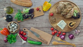 Preparation of salad  on wooden desk, stop motion animation, 4K stock video footage