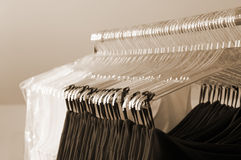 Preparation for sale clothing, clothes Stock Image