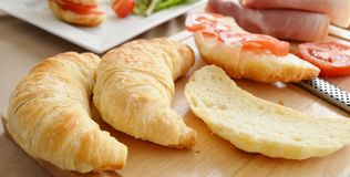 Preparation of Savoury Croissants. Royalty Free Stock Photography
