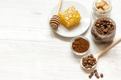 Preparation scrub of ground coffee and honey top view Stock Photography
