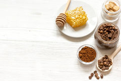 Preparation scrub of ground coffee and honey top view Royalty Free Stock Photos