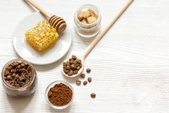 Preparation scrub of ground coffee and honey top view Royalty Free Stock Photography