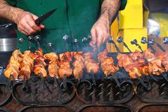 Preparation of a shish kebab. On skewers and a brazier Stock Photography